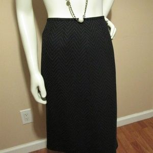 Kasper Black & White Chevron Pencil Skirt Sz14